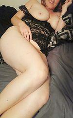 black lingerie tits out